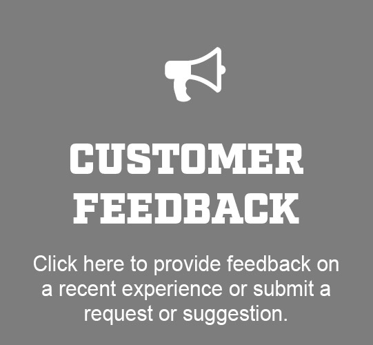 Image Give Feedback, Click here to provide feedback on a recent experience or submit a request or suggestion
